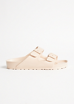 Nude Double Buckle Slip On Sandals