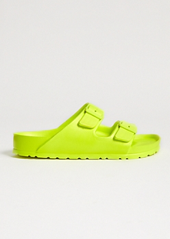 Neon Yellow Double Buckle Slip On Sandals