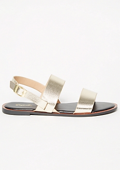 Gold Metallic Double Strap Sandals