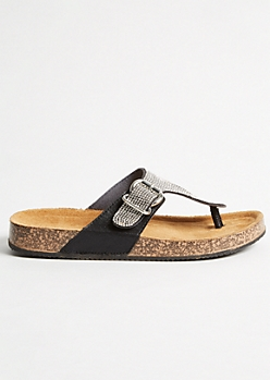 Black Metallic Studded Cork Flip Flops