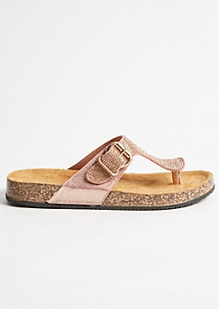 Rose Gold Metallic Studded Cork Flip Flops