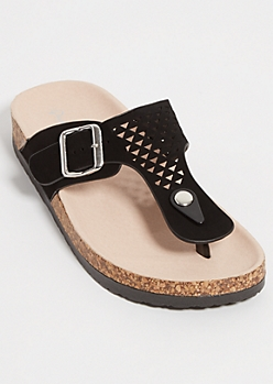 Black Geo Perforated T-Strap Sandals
