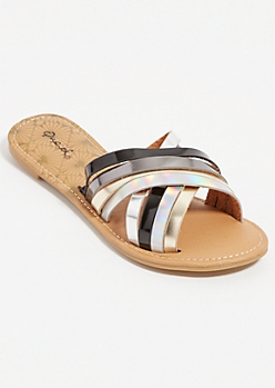 Black Metallic Cross Strap Sandals