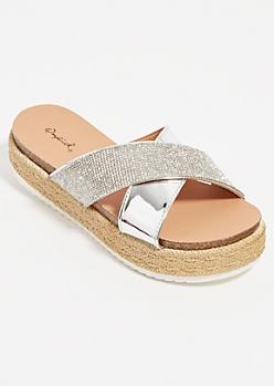 Silver Glitzy Crossing Strap Platform Sandals