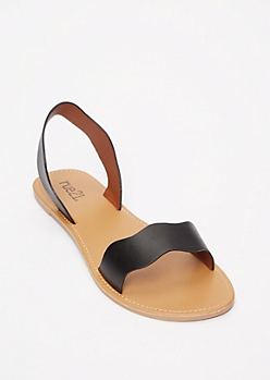 Black Scalloped Strap Sandals