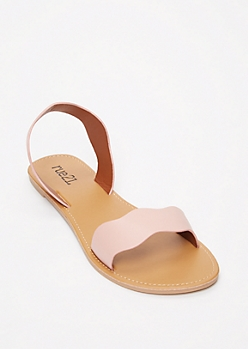 Pink Scalloped Strap Sandals