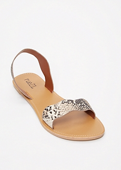 Snakeskin Print Scalloped Strap Sandals