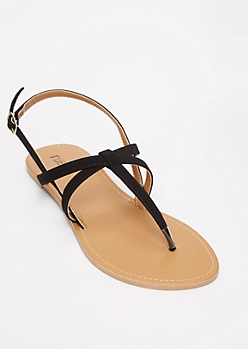 Black Criss Cross T Strap Sandals