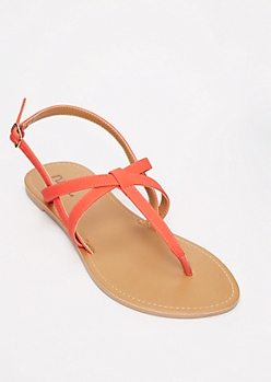 Neon Fuchsia Criss Cross T Strap Sandals