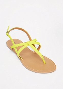 Neon Yellow Criss Cross T Strap Sandals