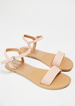 Pink Braided Ankle Strap Sandals