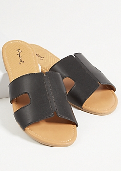 Black Faux Leather Strap Cutout Sandals