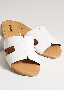 White Faux Leather Strap Cutout Sandals