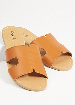 Cognac Faux Leather Strap Cutout Sandals