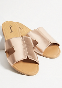 Rose Gold Faux Leather Strap Cutout Sandals