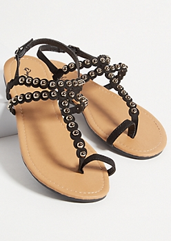 Black Faux Leather Studded Toe Ring Sandals
