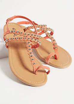 Coral Faux Leather Studded Toe Ring Sandals