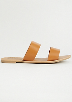 Camel Double Faux Leather Strap Sandals
