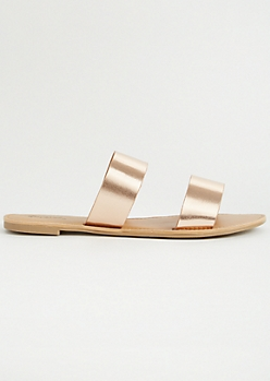 Rose Gold Double Faux Leather Strap Sandals