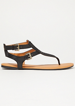 Black Stitched Buckle Ankle Sandals