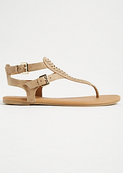 Taupe Stitched Buckle Ankle Sandals