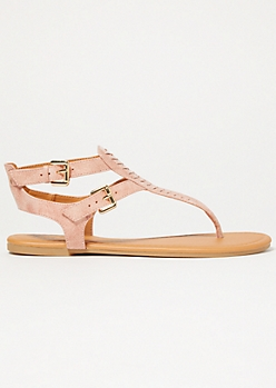 Pink Stitched Buckle Ankle Sandals