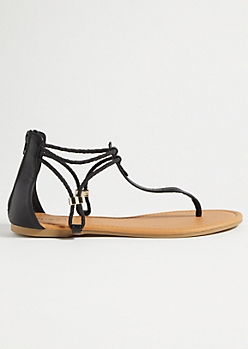 Black Braided Ankle Strap Sandals