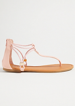 Light Pink Braided Ankle Strap Sandals