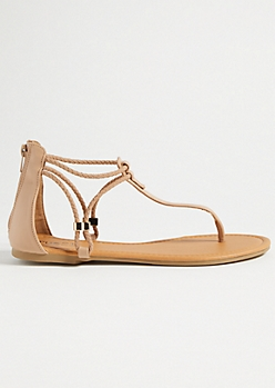 Tan Braided Ankle Strap Sandals