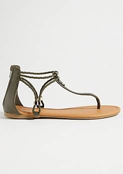 Olive Braided Ankle Strap Sandals