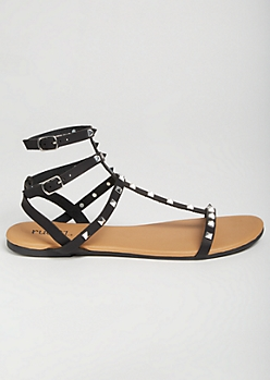 Black Pointed Stud Caged Gladiator Sandals