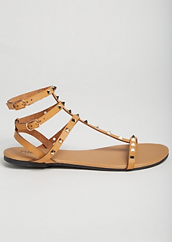 Tan Pointed Stud Caged Gladiator Sandals