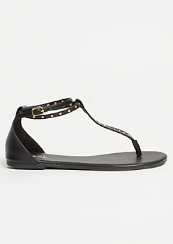 Black Faux Leather Studded T Strap Sandals