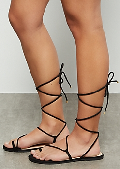 Black Toe Ring Lace Up Faux Suede Sandals