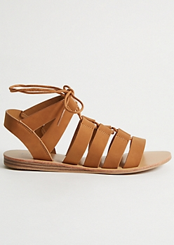Cognac Gladiator Lace Up Sandals