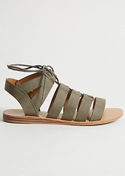 Dark Olive Gladiator Lace Up Sandals