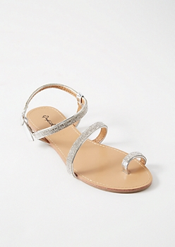 Silver Gemstone Toe Ring Ankle Sandals
