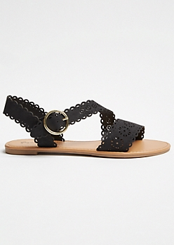 Black Perforated Strappy Ankle Sandals