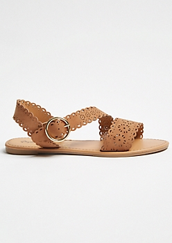 Cognac Perforated Strappy Ankle Sandals