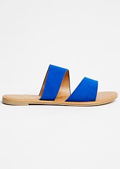 Royal Blue Double Strap Slides