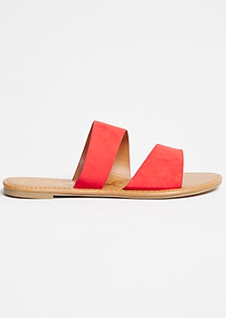 Red Double Strap Slides