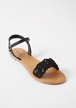 Black Crochet Strap Ankle Sandals