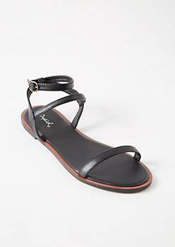 Black Multi Ankle Strap Sandals