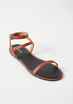 Cognac Multi Ankle Strap Sandals