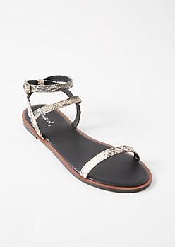 Snakeskin Print Multi Ankle Strap Sandals