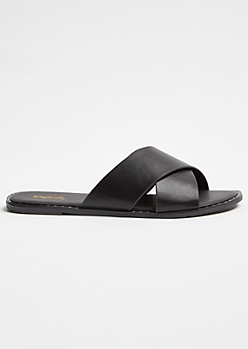 Black Crisscross Studded Slides