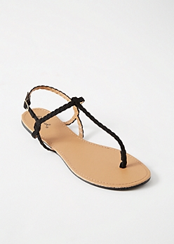 Black Braided T Strap Ankle Sandals