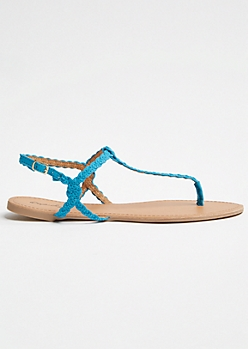 Blue Braided T Strap Ankle Sandals