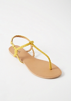 Yellow Braided T Strap Ankle Sandals