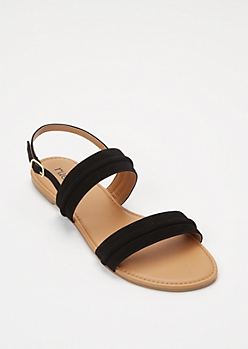 Black Double Band Ankle Strap Sandals